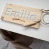 Wooden Personal Name Finger Tracing Board Small Lettering Color Baby Blue