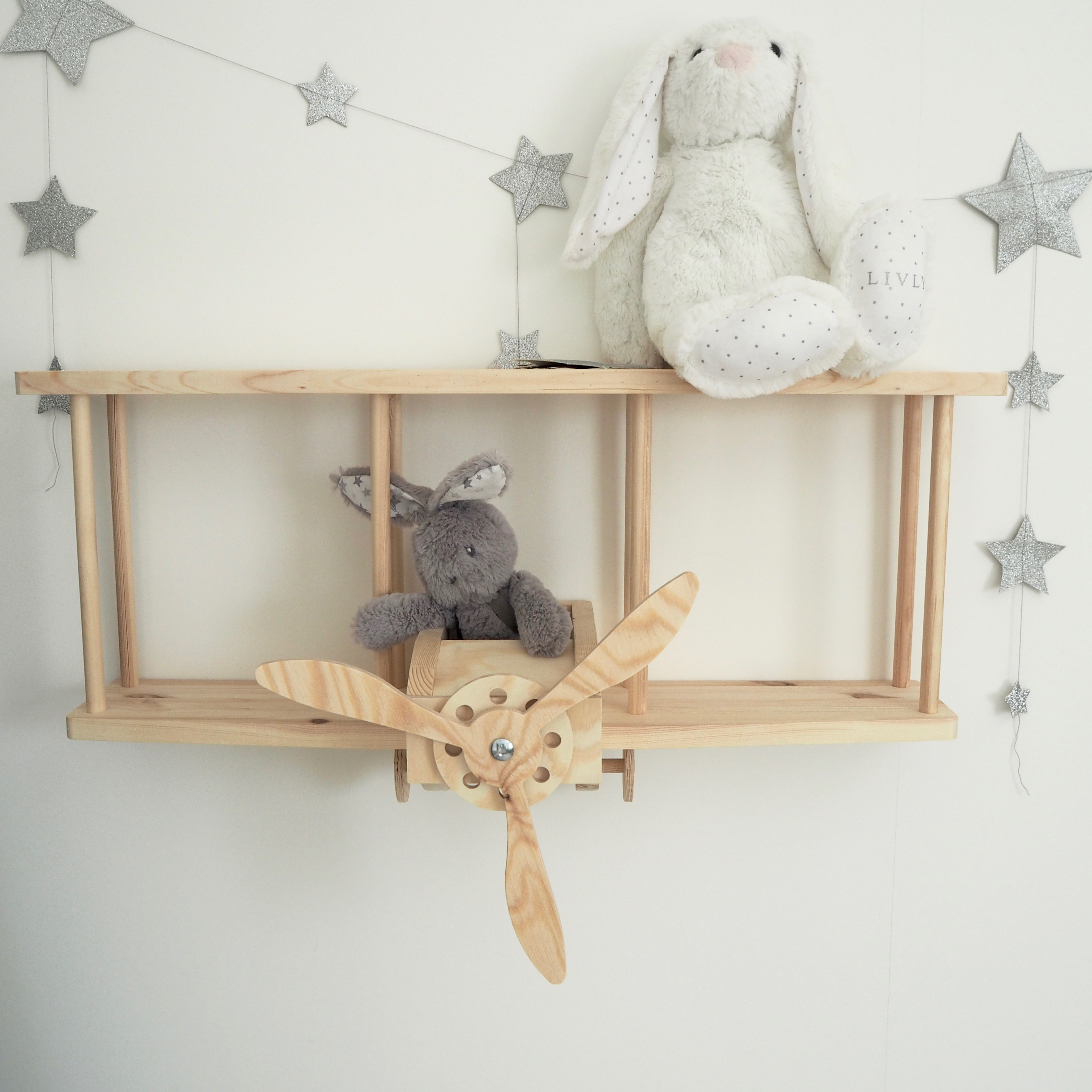 Wooden Airplane Shelf RASKLY