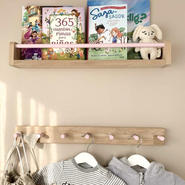 Wall coat rack for kids (Scandinavian Oak) Coat Rack, Peg Rail, Wall Hooks for Kids, Kids room decor, Wood Peg Rail, Nursery hooks