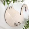 Personalized Swan Decor, Swan Name Plaque, Swan Name Sign, Personalised Swan Wood Name Sign, Nursery Name, Baby Shower Decor, Nursery Decor RASKLY Unique Kids Interior Personalised Handmade In Sweden By RASKLY, Handmade furniture in Sweden, Handmade Kids interior from Sweden, Scandinavian Handmade Kids Interior